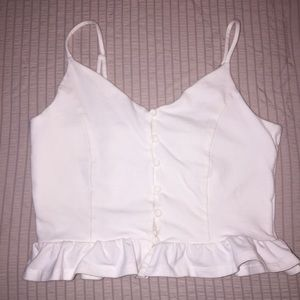 Button down cropped top camisole